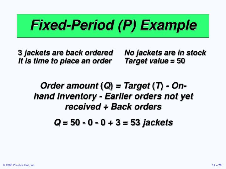 Fixed-Period (P) Example