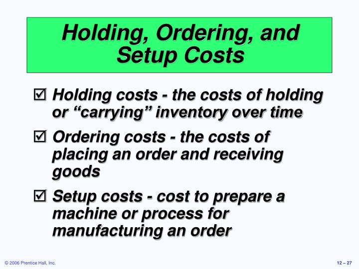 Holding, Ordering, and Setup Costs
