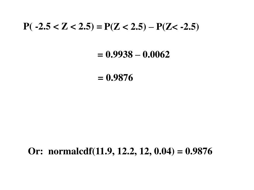 P( -2.5 < Z < 2.5) =