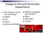 college of arts and humanities departments