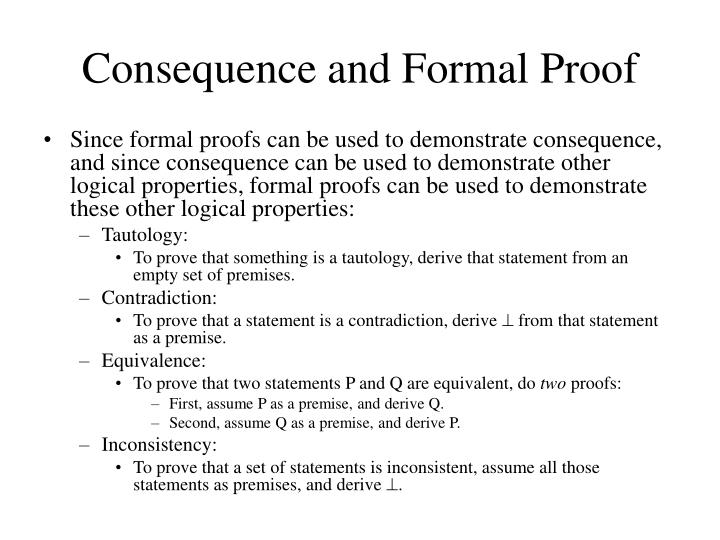 Consequence and Formal Proof