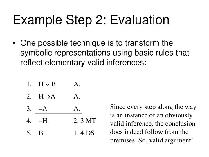 Example Step 2: Evaluation