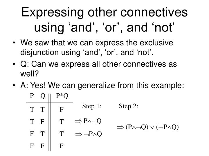 Expressing other connectives using 'and', 'or', and 'not'
