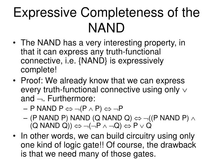 Expressive Completeness of the NAND