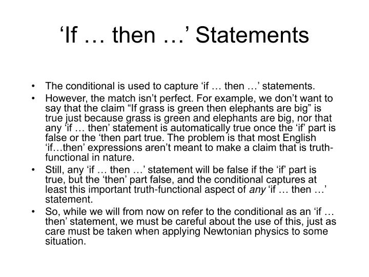 'If … then …' Statements