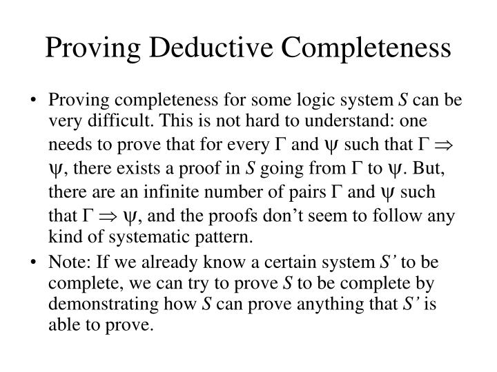 Proving Deductive Completeness