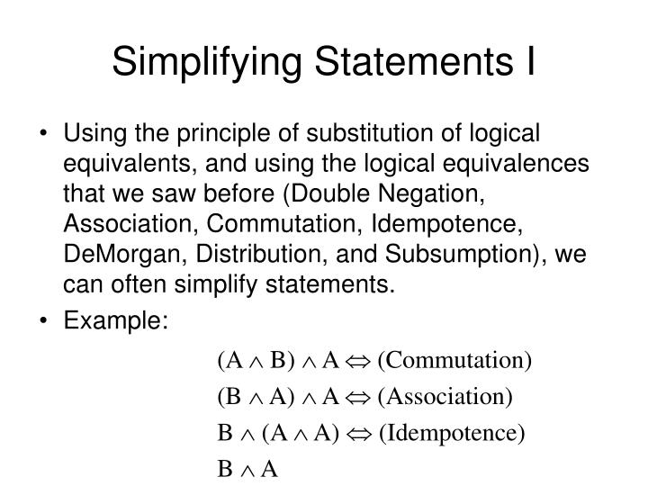 Simplifying Statements I