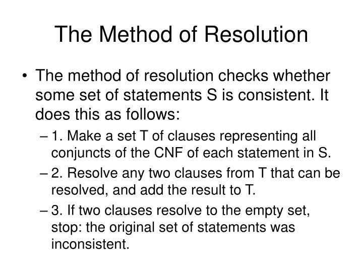 The Method of Resolution