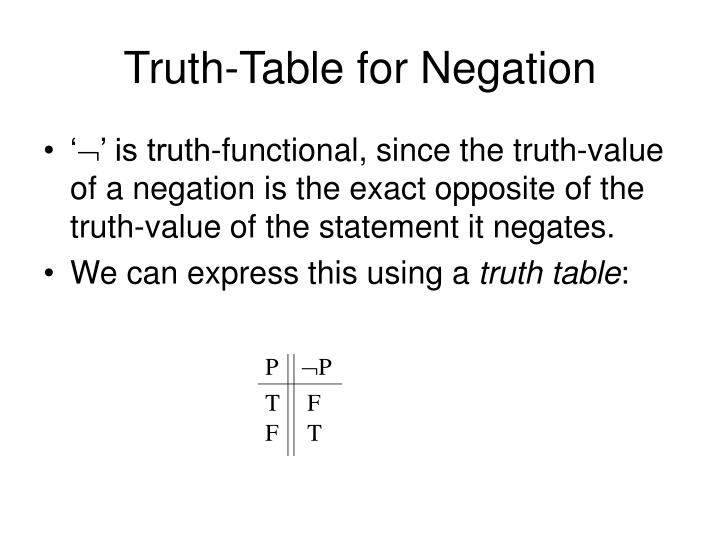 Truth-Table for Negation