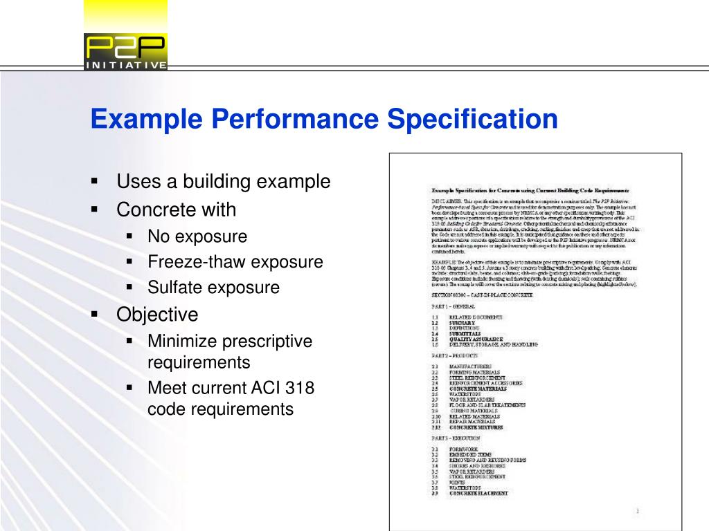 Example Performance Specification