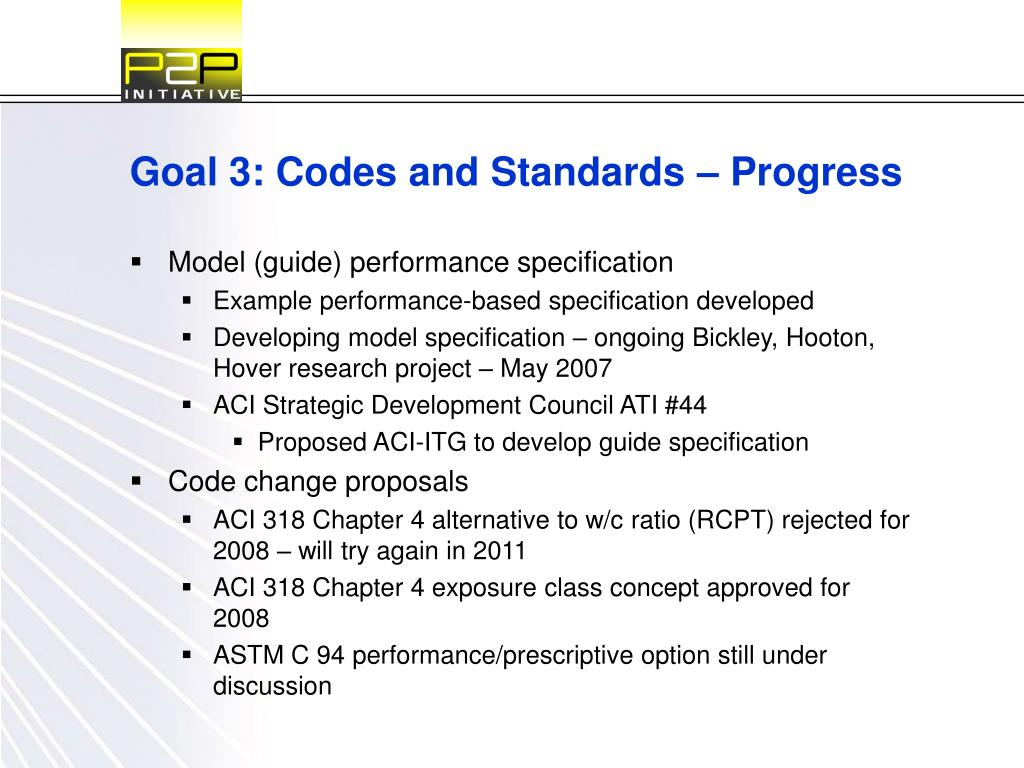 Goal 3: Codes and Standards – Progress