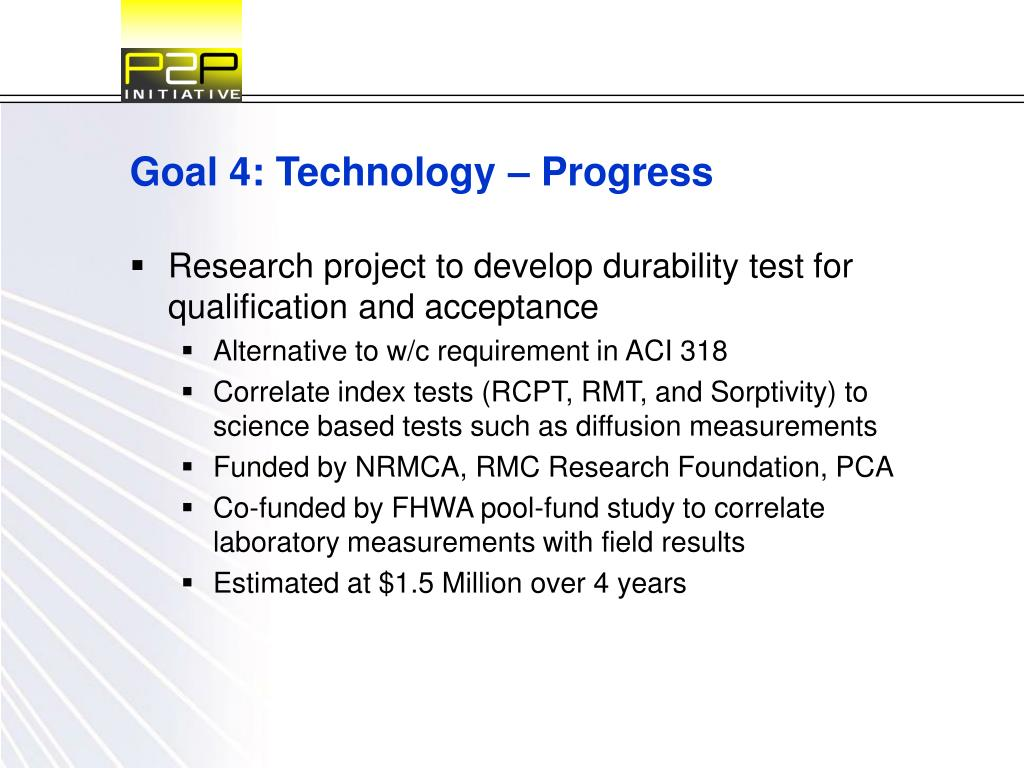 Goal 4: Technology – Progress