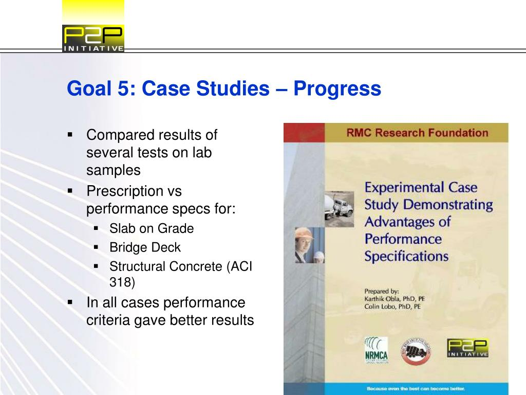 Goal 5: Case Studies – Progress