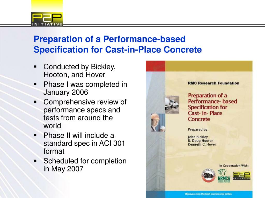 Preparation of a Performance-based Specification for Cast-in-Place Concrete