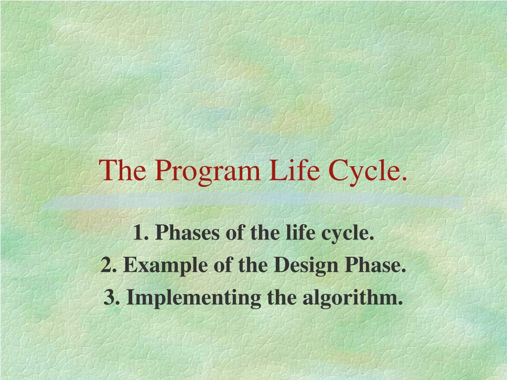 the program life cycle l.