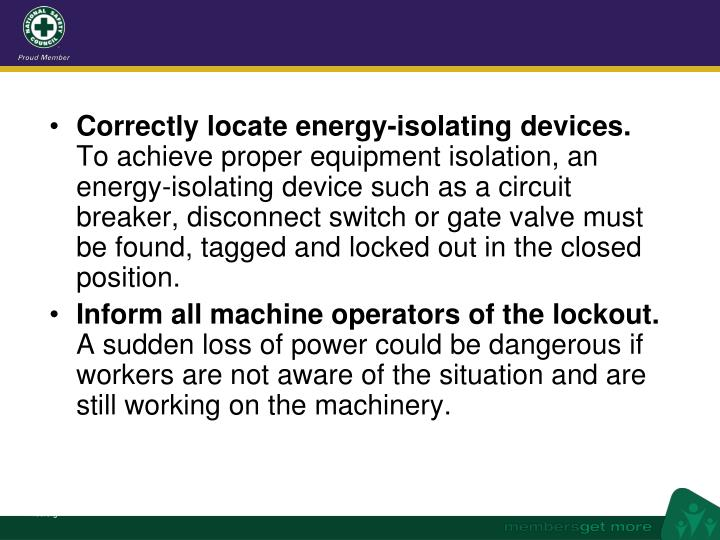Correctly locate energy-isolating devices.