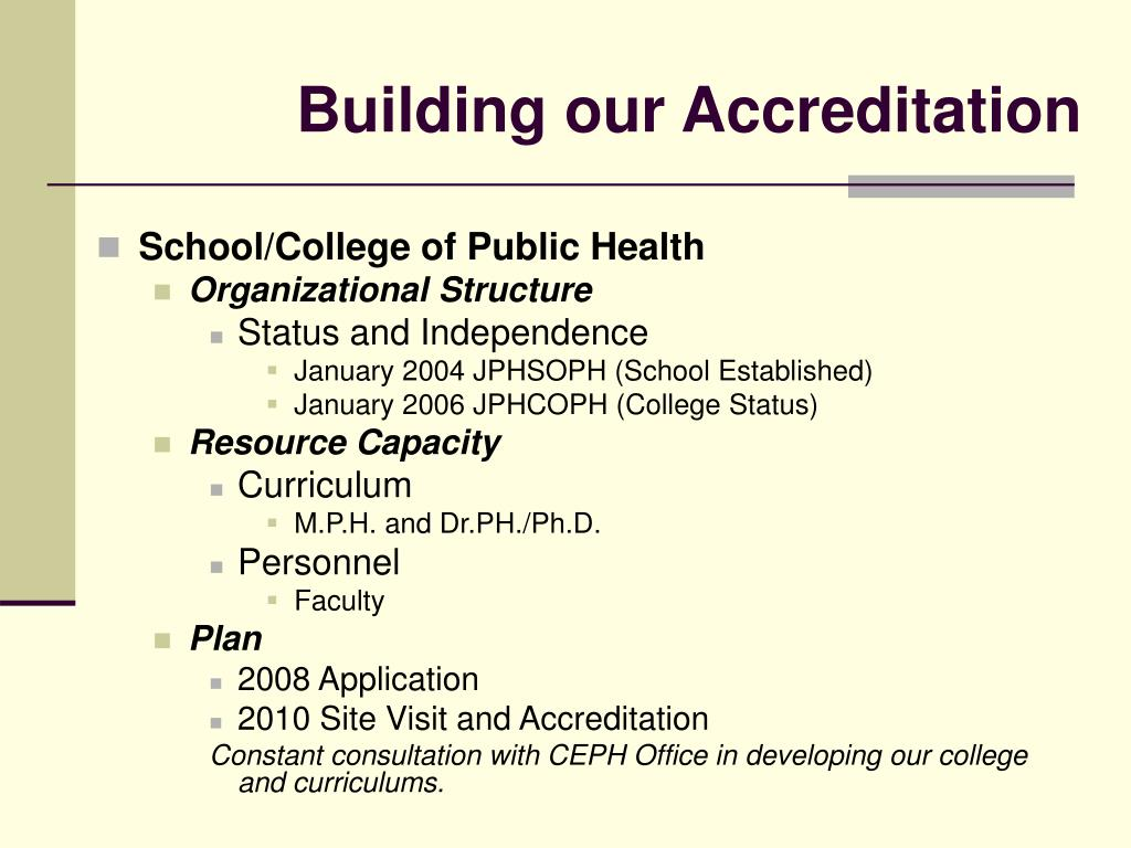 Building our Accreditation