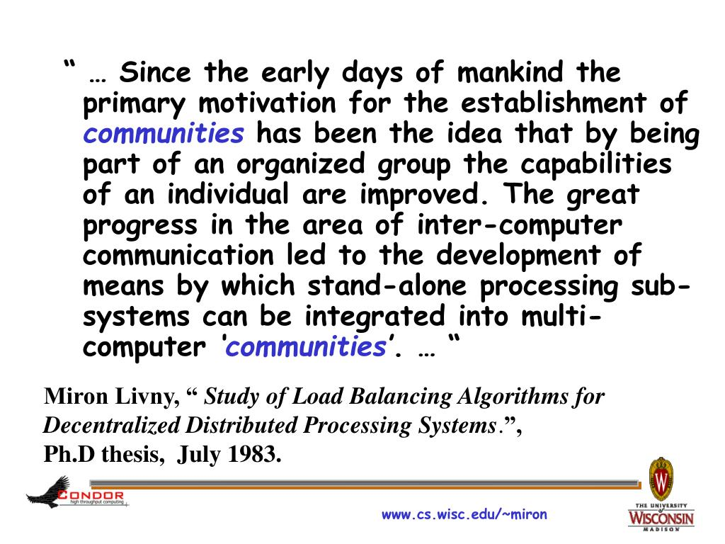 """"""" … Since the early days of mankind the primary motivation for the establishment of"""
