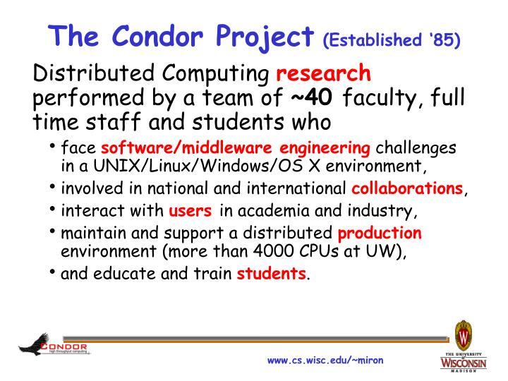 The condor project established 85