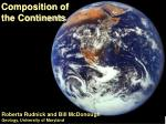 composition of the continents