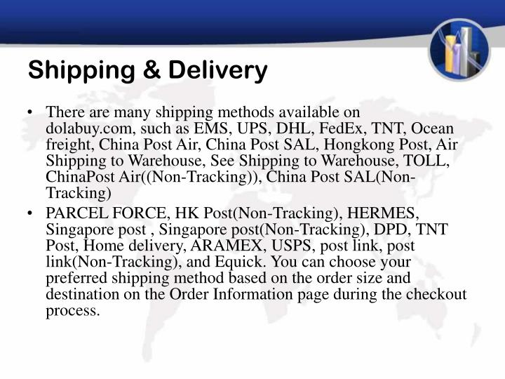 Shipping delivery