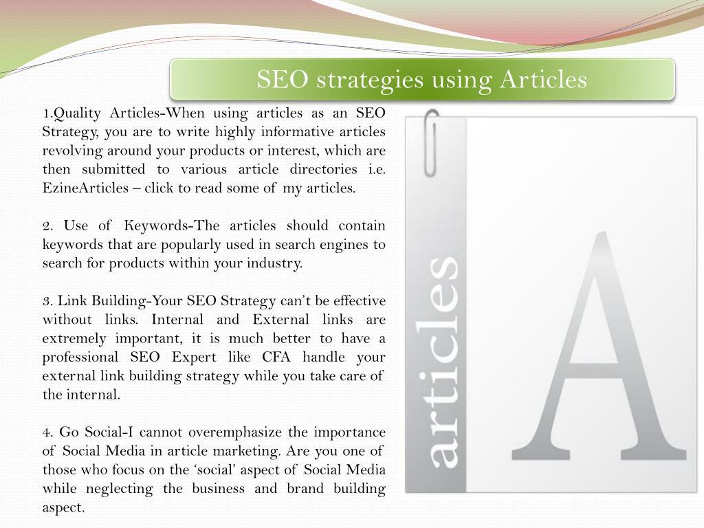 SEO strategies using Articles