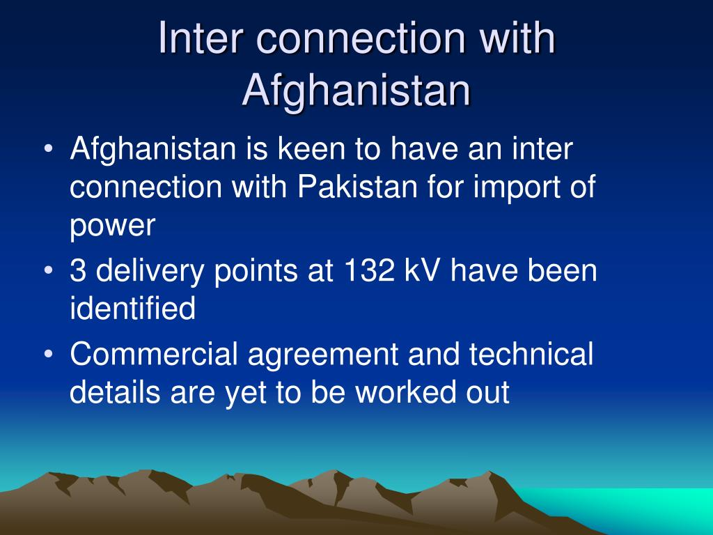 Inter connection with Afghanistan