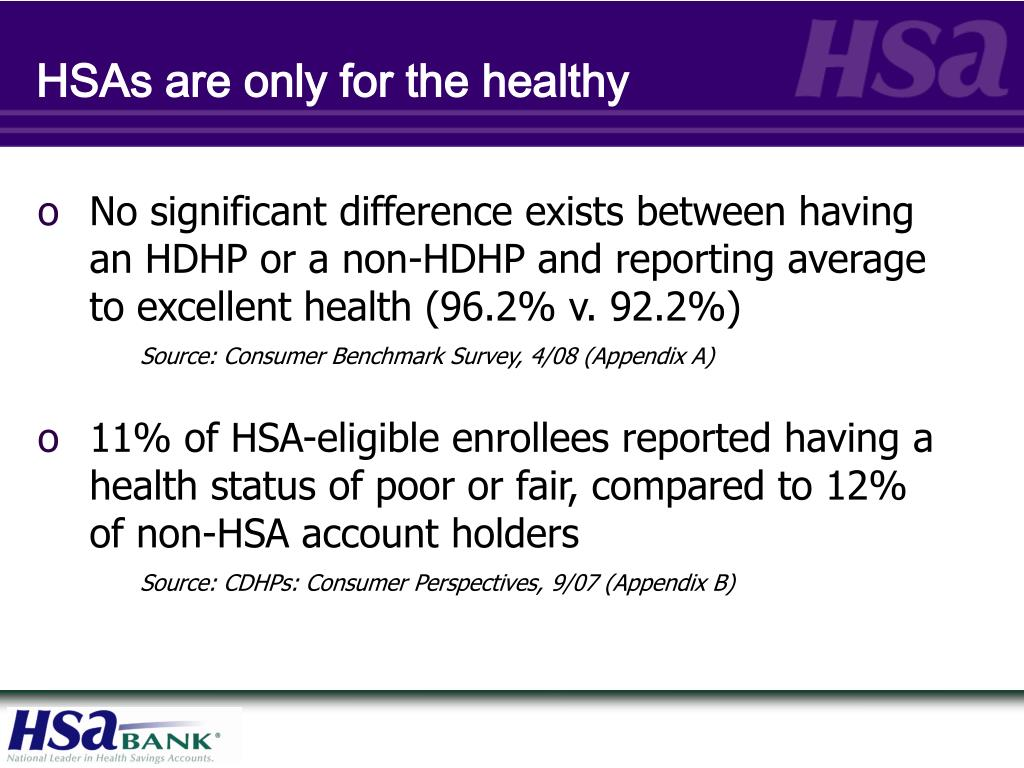 HSAs are only for the healthy