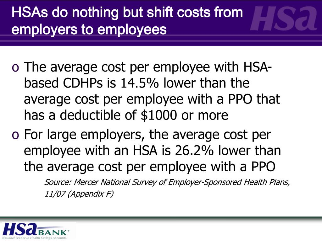 HSAs do nothing but shift costs from employers to employees