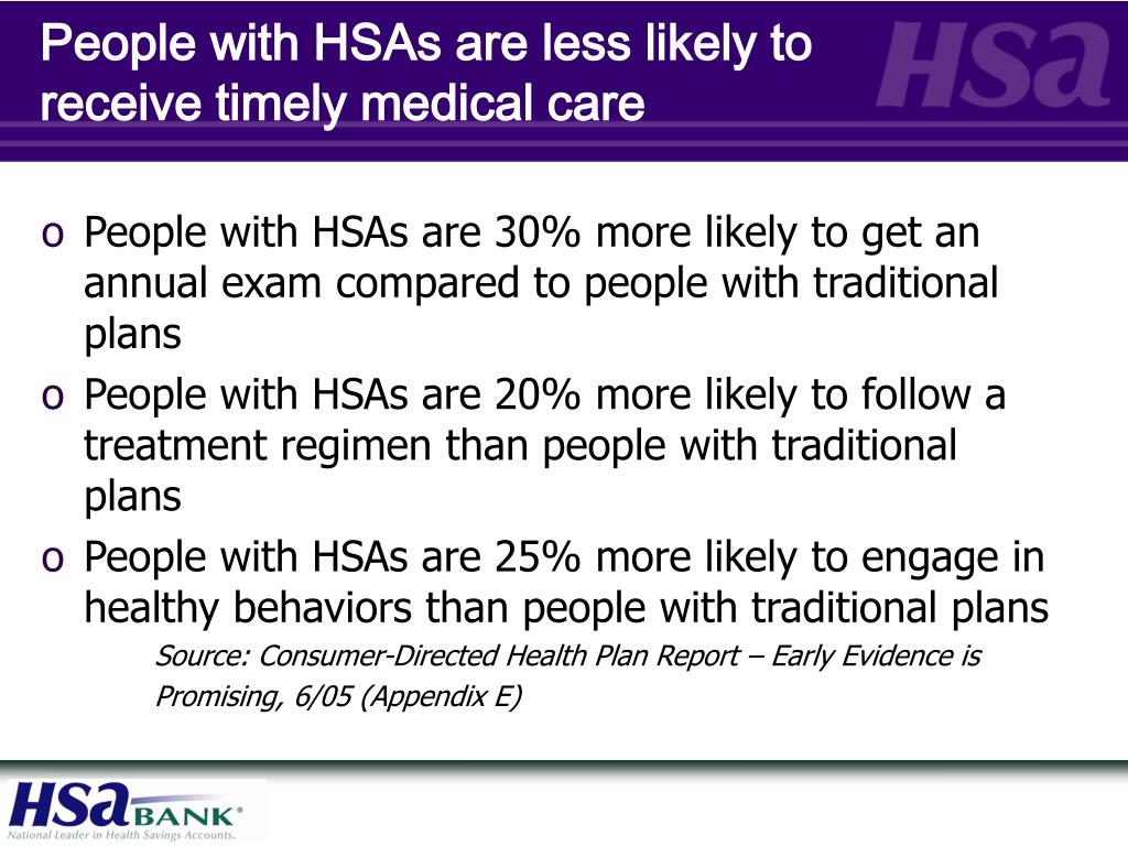 People with HSAs are less likely to