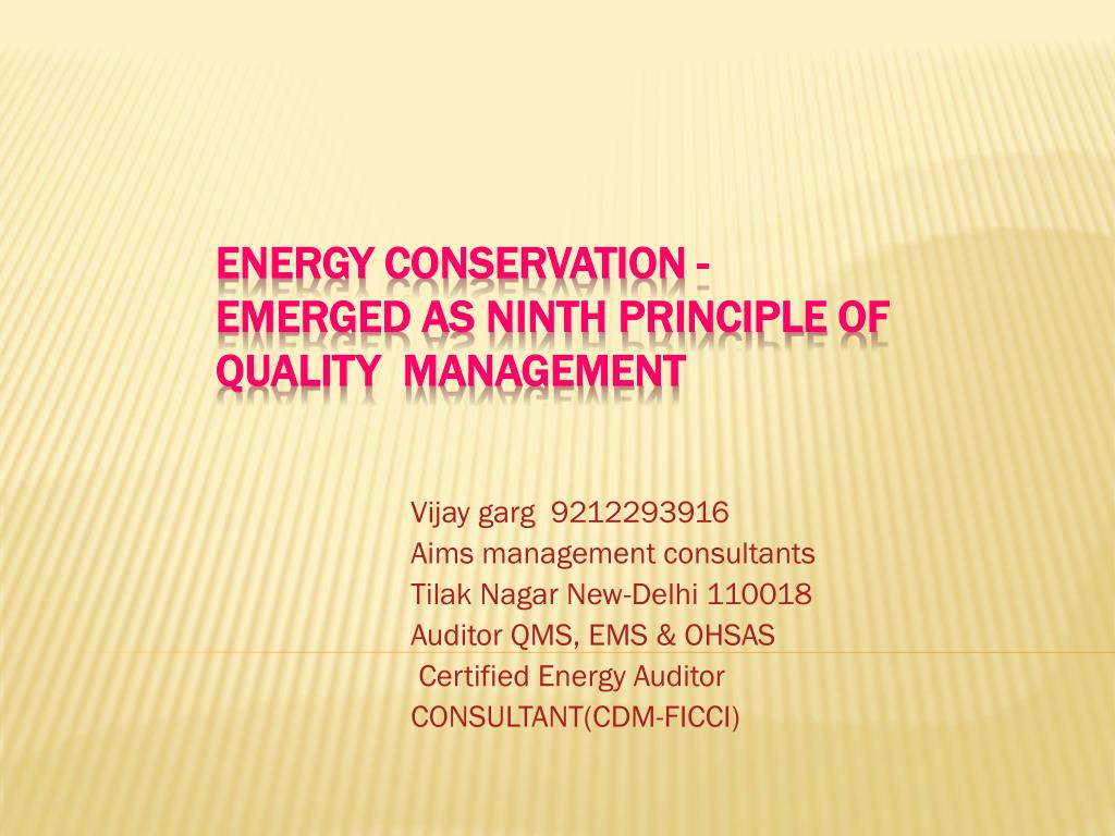 energy conservation emerged as ninth principle of quality management