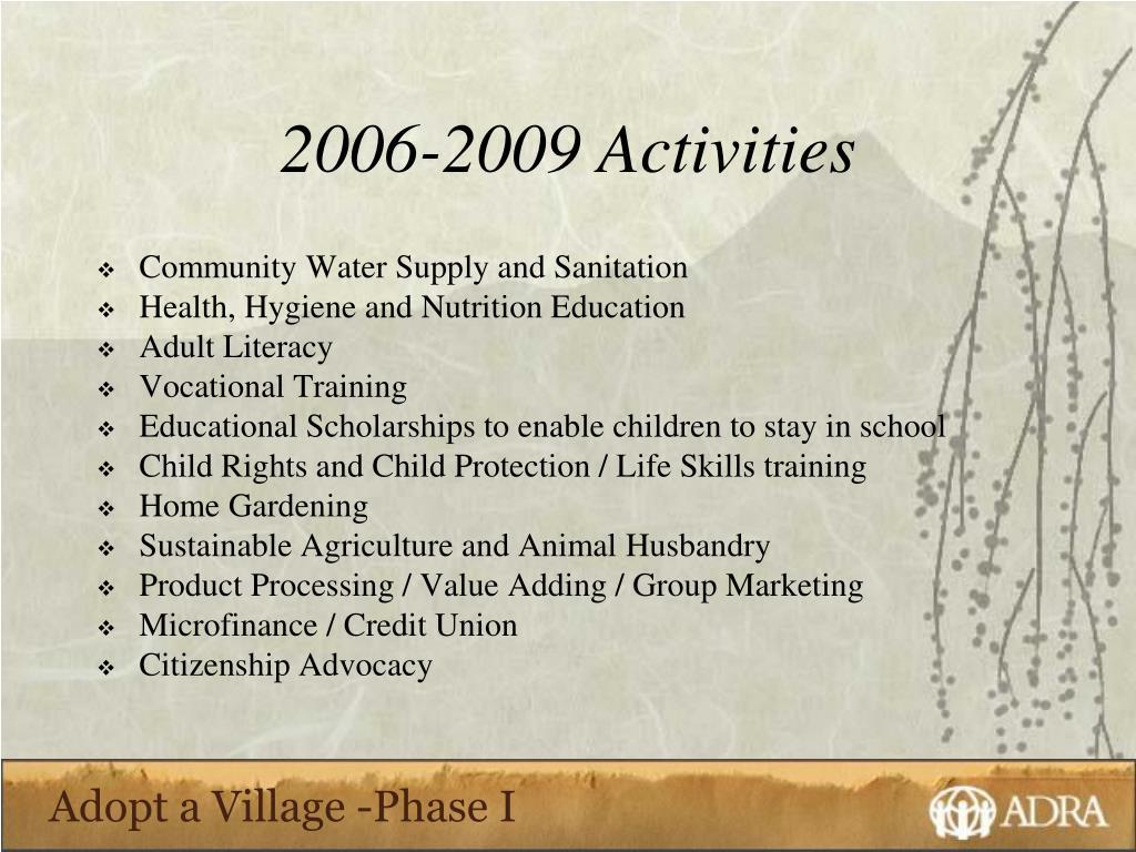 2006-2009 Activities