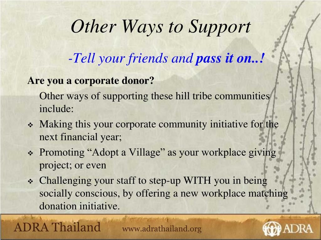 Other Ways to Support
