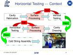 horizontal testing context