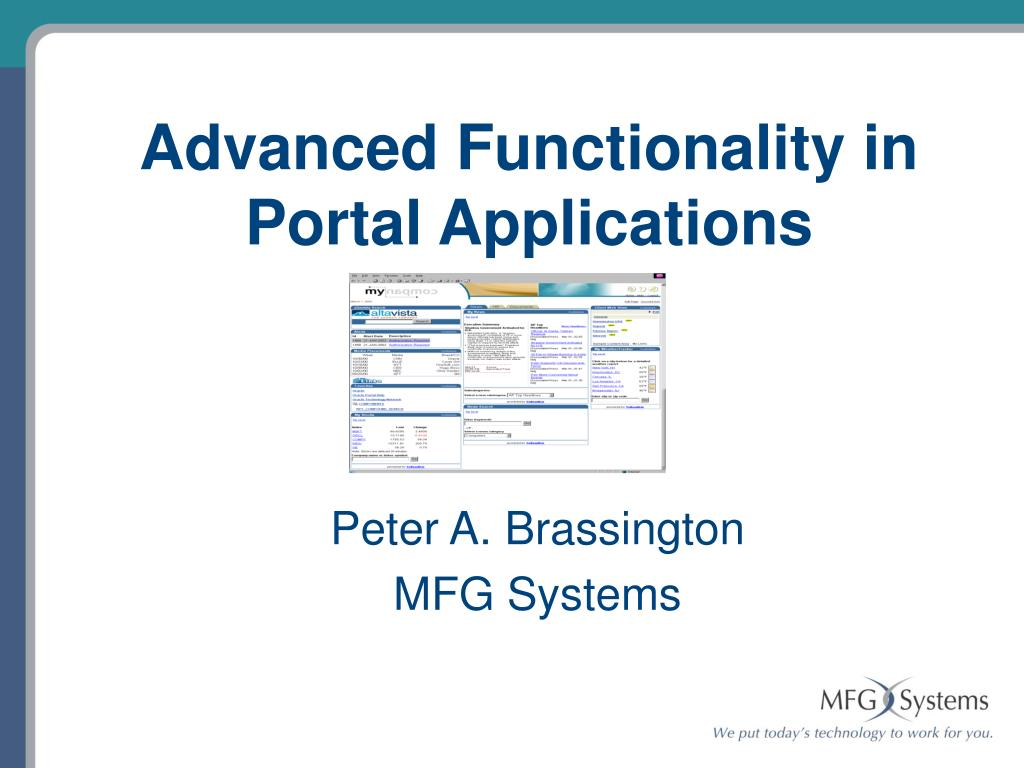 advanced functionality in portal applications l.