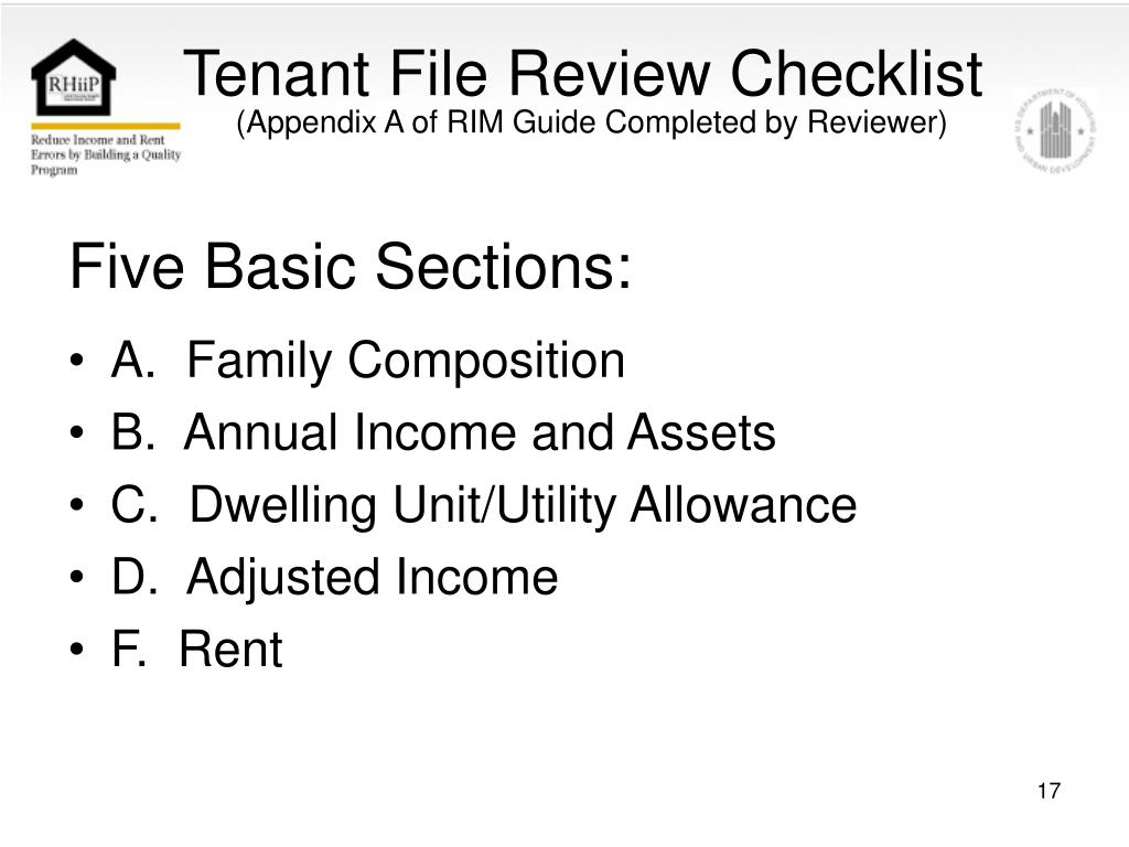 Tenant File Review Checklist