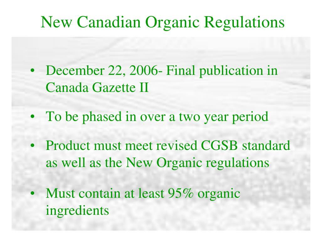 New Canadian Organic Regulations