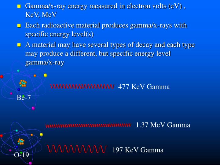 Gamma/x-ray energy measured in electron volts (eV) , KeV, MeV