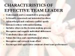 characteristics of effective team leader