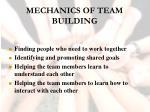 mechanics of team building