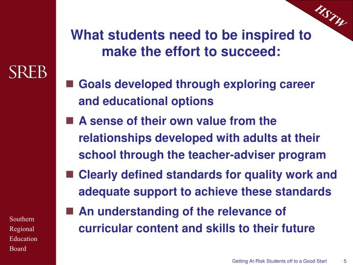 What students need to be inspired to make the effort to succeed: