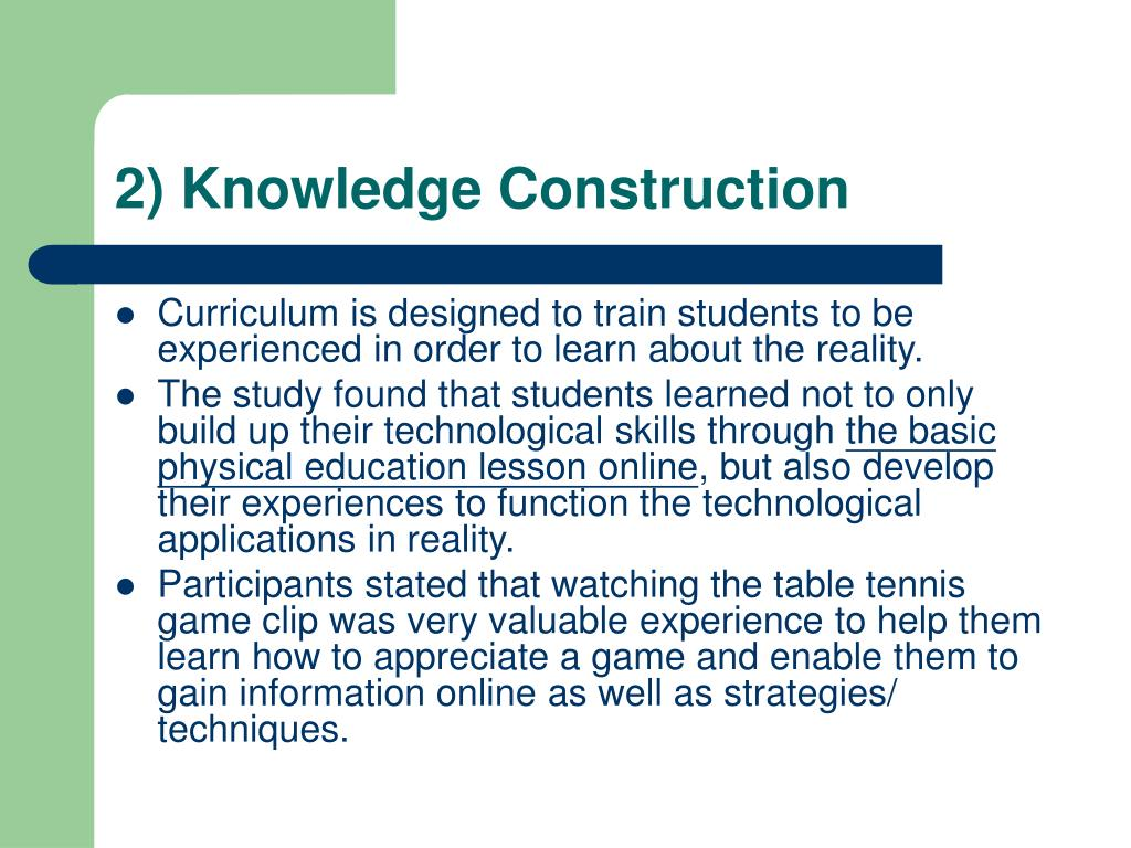 2) Knowledge Construction