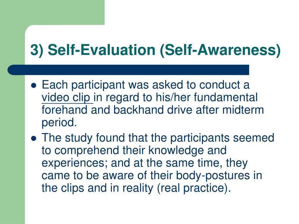 3) Self-Evaluation (Self-Awareness)