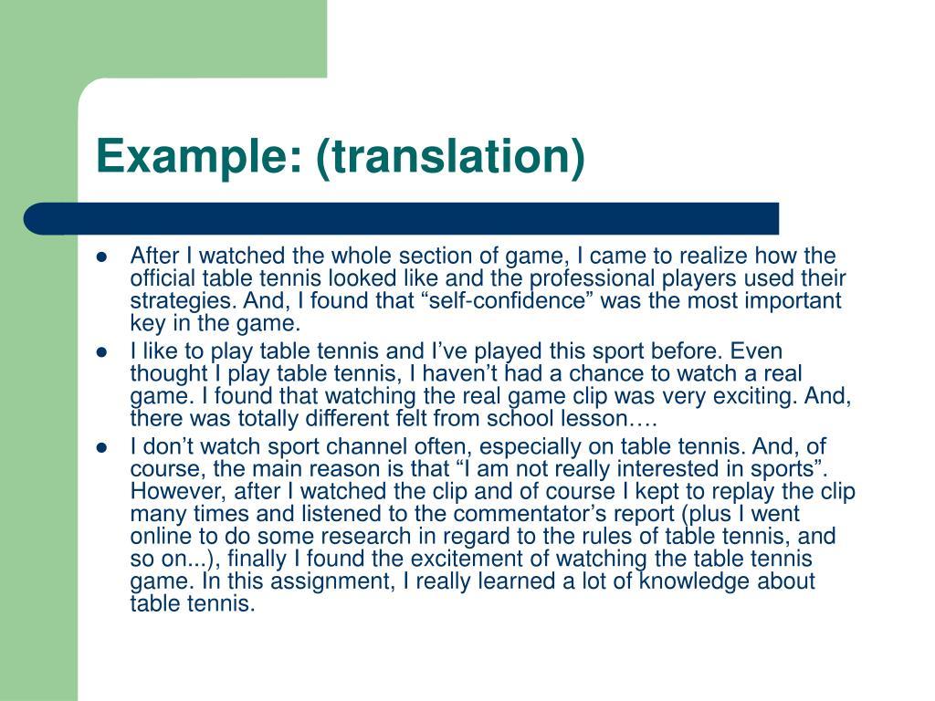 Example: (translation)