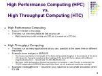 high performance computing hpc vs high throughput computing htc
