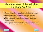 main provisions of the industrial relations act 1990