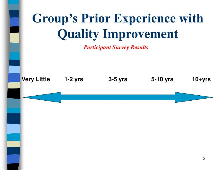 Group s prior experience with quality improvement