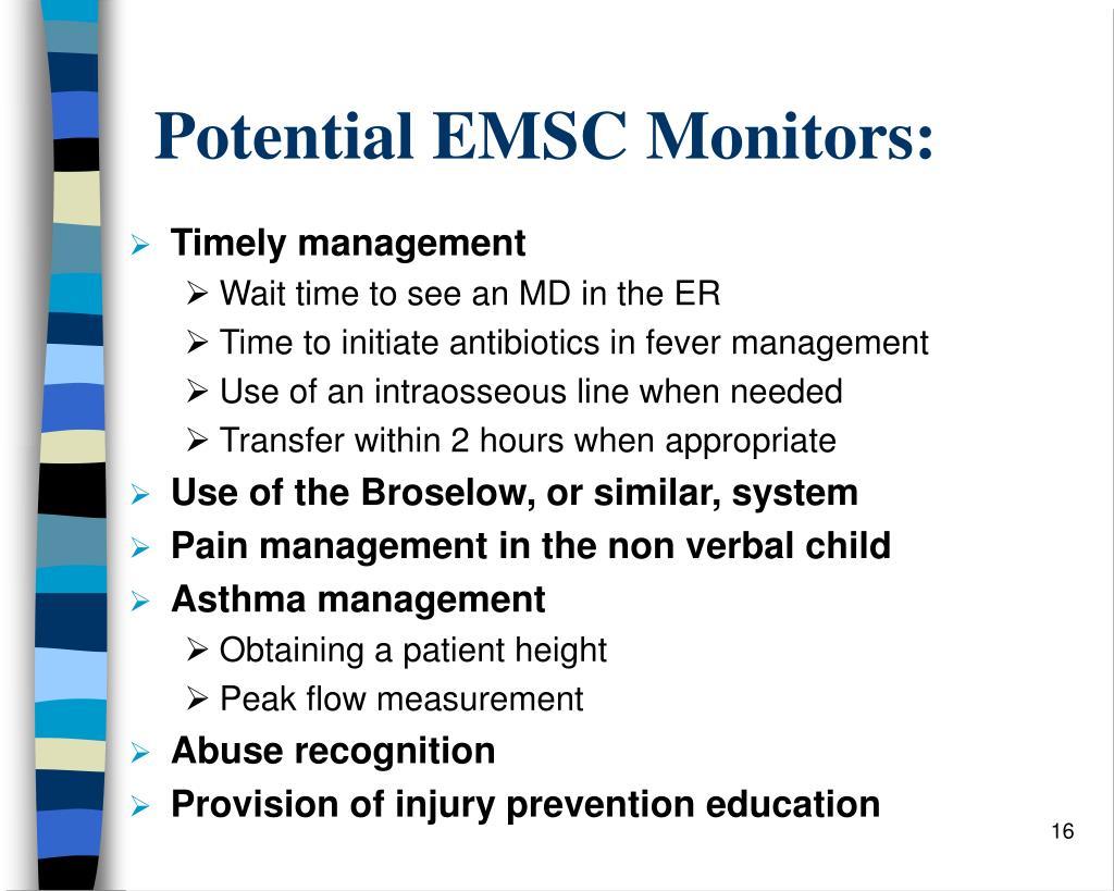 Potential EMSC Monitors: