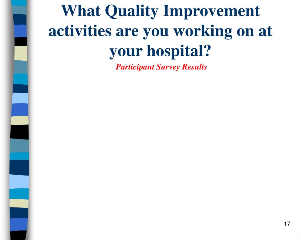 What Quality Improvement activities are you working on at your hospital?