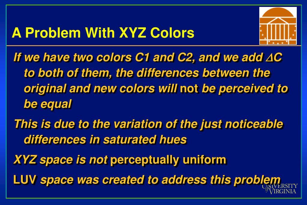 A Problem With XYZ Colors